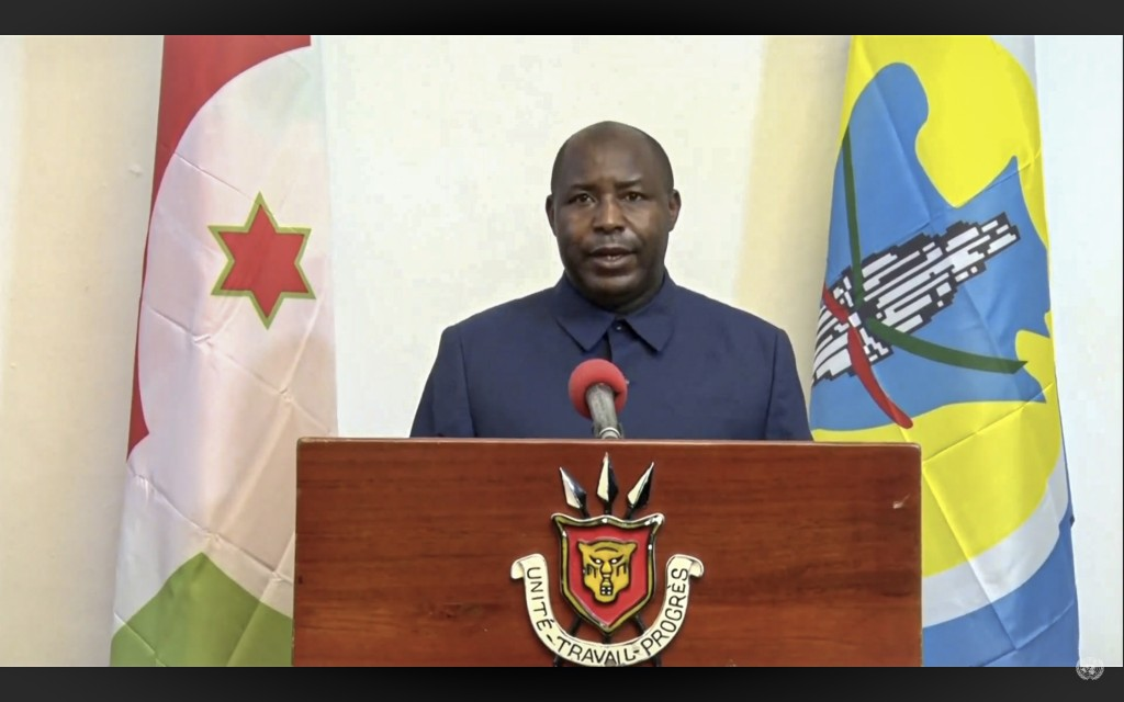 In this UNTV image, Evariste Ndayishimiye, President of Burundi, speaks in a pre-recorded video message during the 75th session of the United Nations ...