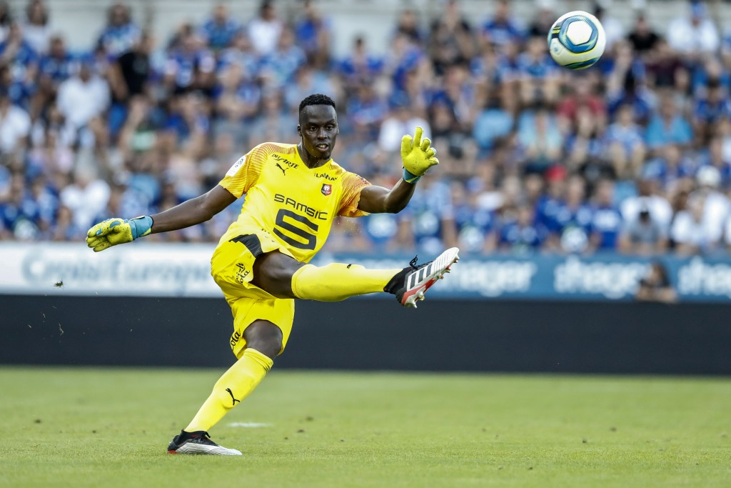FILE - In this Aug. 25, 2019 file photo, Rennes's goalkeeper Edouard Mendy controls the ball, during the league one soccer match between Strasbourg an...