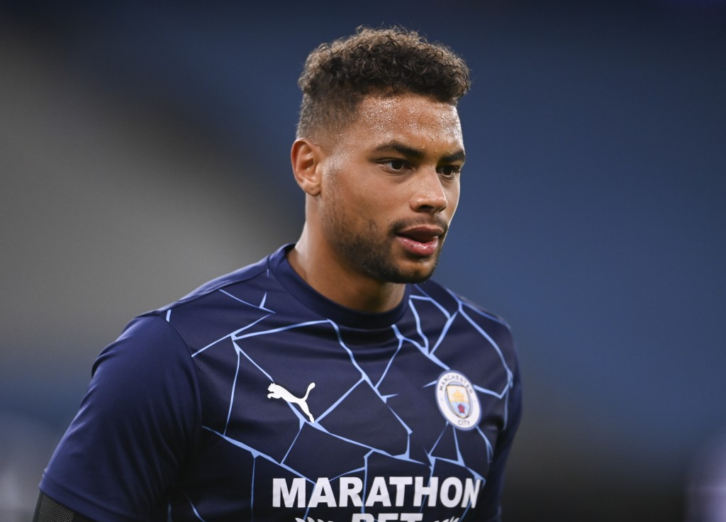 Manchester City's goalkeeper Zack Steffen warms up ahead of the English League Cup third round soccer match between Manchester City and Bournemouth at...