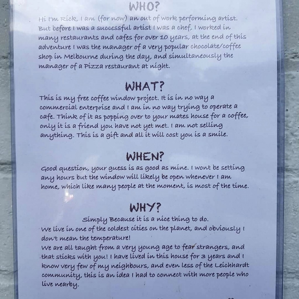 In this July 25, 2020 photo provided by Rick Everett, a sign describing his complimentary coffee and conversation window hangs on the side of his home...