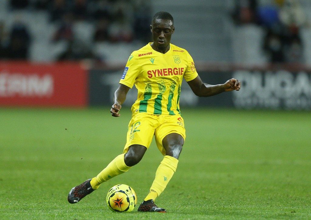 Nantes' Dennis Appiah controls the ball during a French League One soccer match between Lille and Nantes at the Lille Metropole stadium in Villeneuve ...