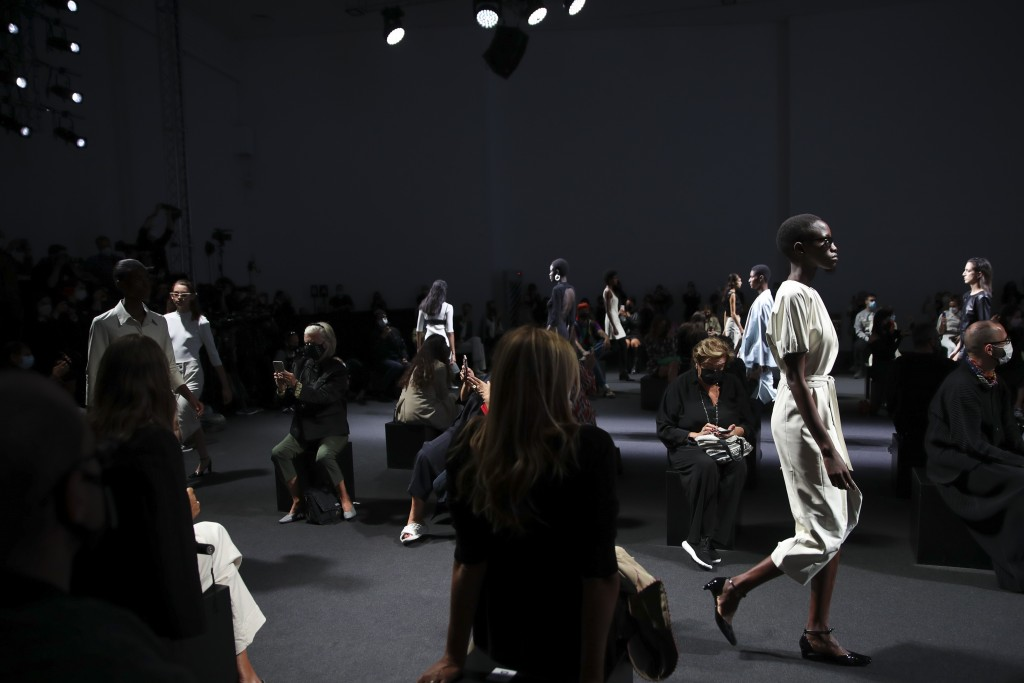 Models wear creations creation as part of the Drome 2021 women's spring-summer ready-to-wear collection during the Milan's fashion week in Milan, Ital...