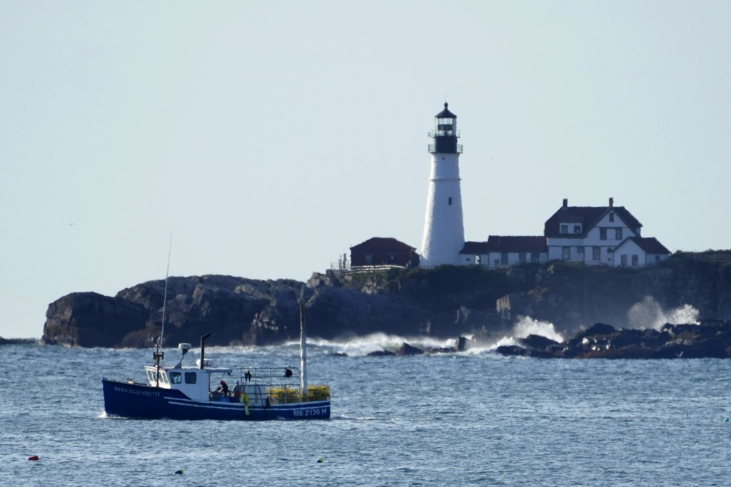 HOLD FOR RELEASE FRIDAY, SEPT. 25 - A lobster boat hauls traps near Portland Head Light, Monday, Sept. 21, 2020, off Cape Elizabeth, Maine. Prices for...
