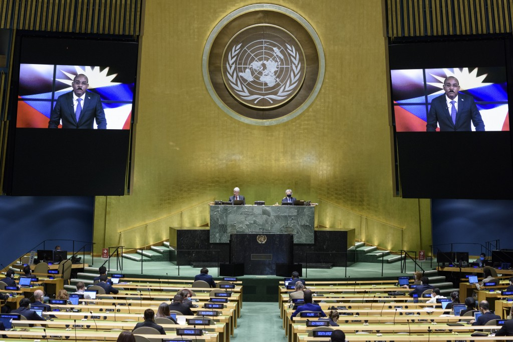 In this photo provided by the United Nations, Gaston Alphonso Browne, Prime Minister of Antigua and Barbuda, speaks in a pre-recorded message which wa...