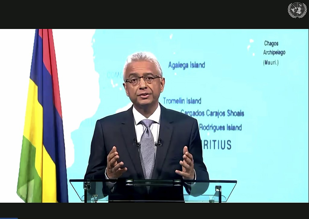 In this photo made from UNTV video, Pravind Kumar Jugnauth, Prime Minister of Mauritius, speaks in a pre-recorded message which was played during the ...