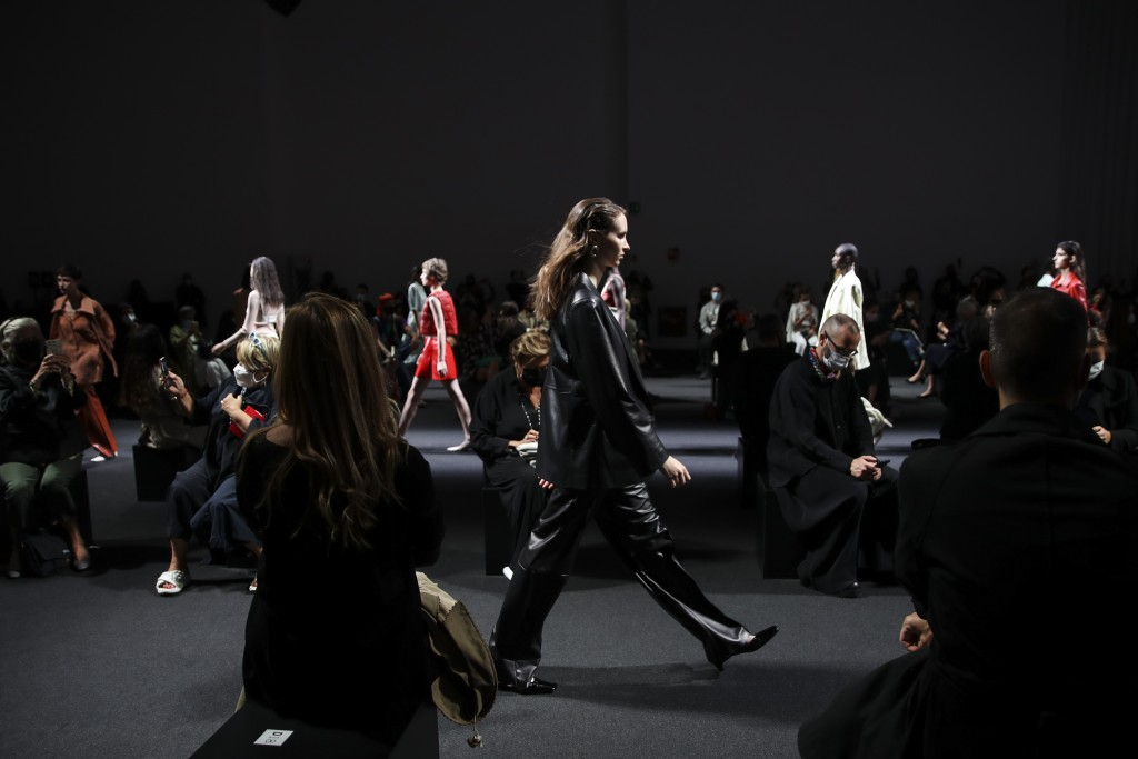 Models wear creations as part of the Drome 2021 women's spring-summer ready-to-wear collection during the Milan's fashion week in Milan, Italy, Saturd...