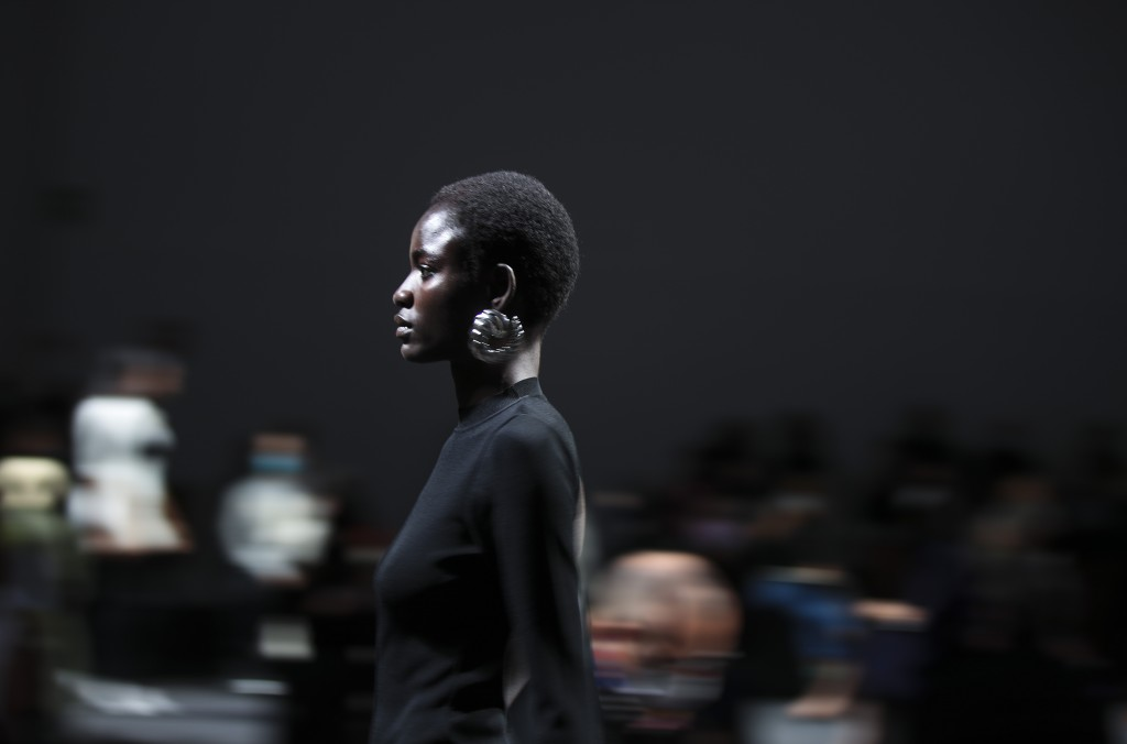 A model wears a creation as part of the Drome 2021 women's spring-summer ready-to-wear collection during the Milan's fashion week in Milan, Italy, Sat...