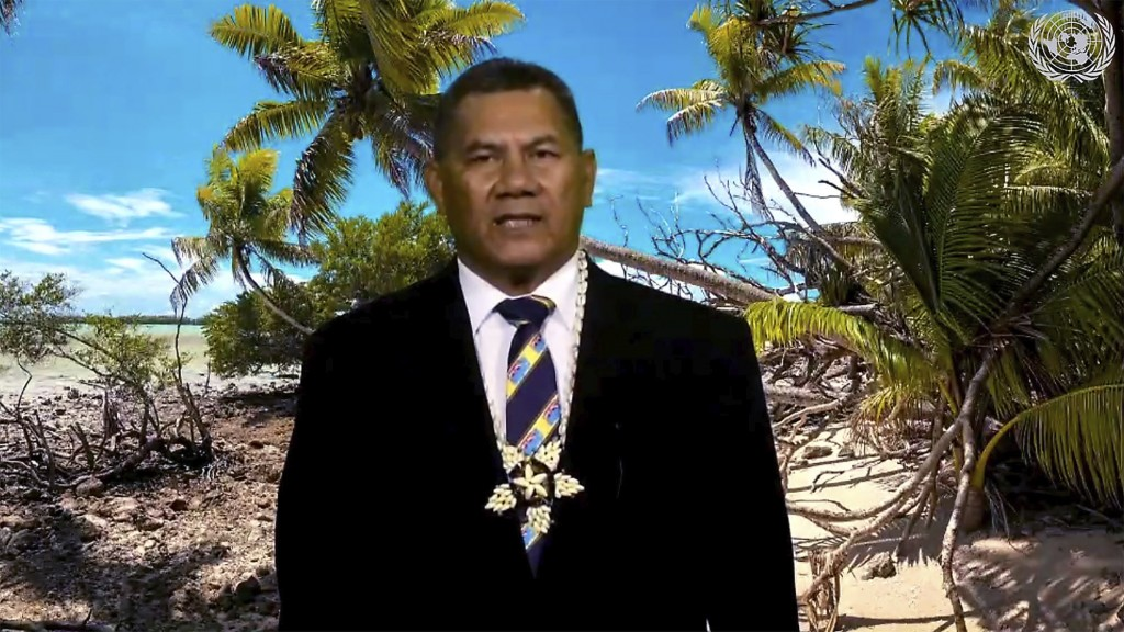 In this image made from UNTV video, Kausea Natano, Prime Minister of Tuvalu speaks in a pre-recorded message which was played during the 75th session ...