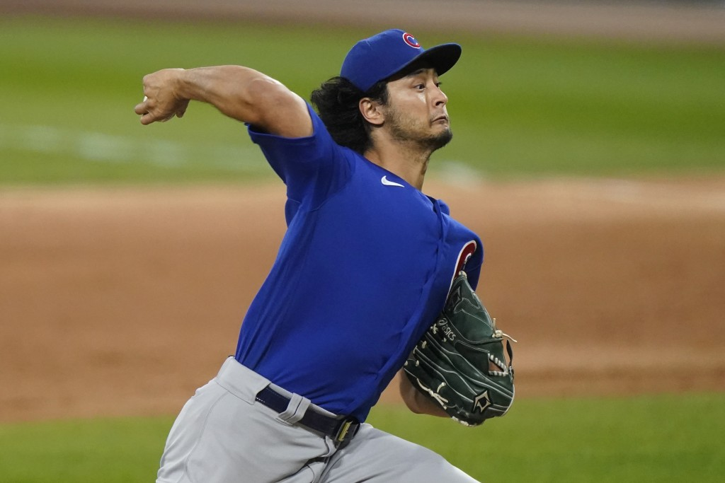 Chicago Cubs starting pitcher Yu Darvish throws to a Chicago White Sox batter during the first inning of a baseball game in Chicago, Friday, Sept. 25,...