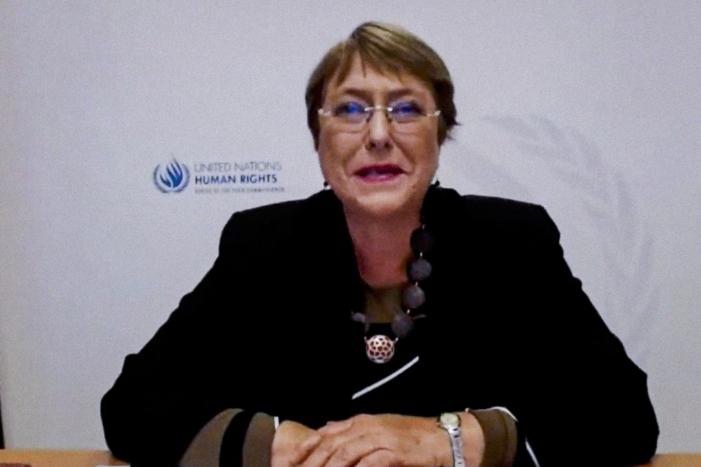 In this photo provided by the United Nations, Michelle Bachelet, U.N. High Commissioner for Human Rights, addresses the high-level virtual panel entit...