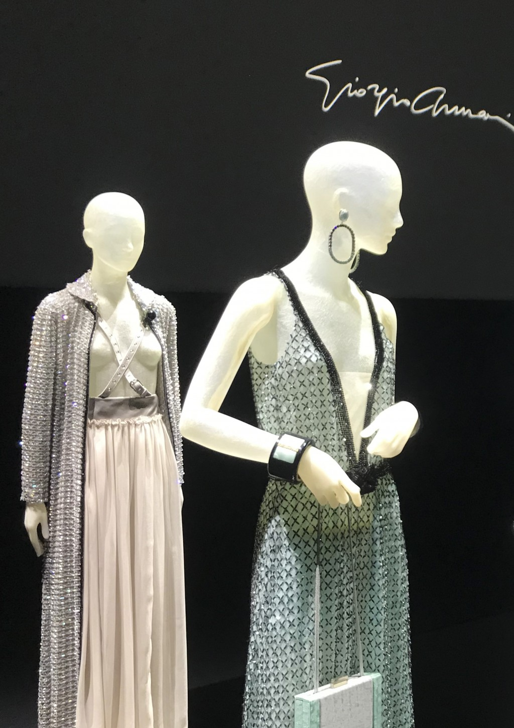 Creations displayed at a presentation as part of the Giorgio Armani 2021 women's spring-summer ready-to-wear collection during the fashion week in Mil...