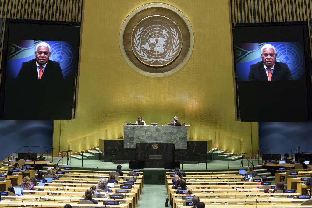In this photo provided by the United Nations, Bob Loughman, prime minister of Vanuatu, speaks in a pre-recorded message which was played during the 75...