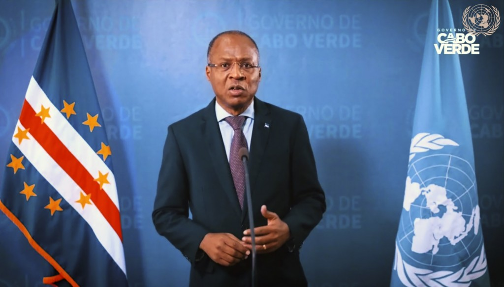 In this image made from UNTV video, Cabo Verde's Prime Minister José Ulisses Correia e Silva speaks in a pre-recorded message which was played during ...