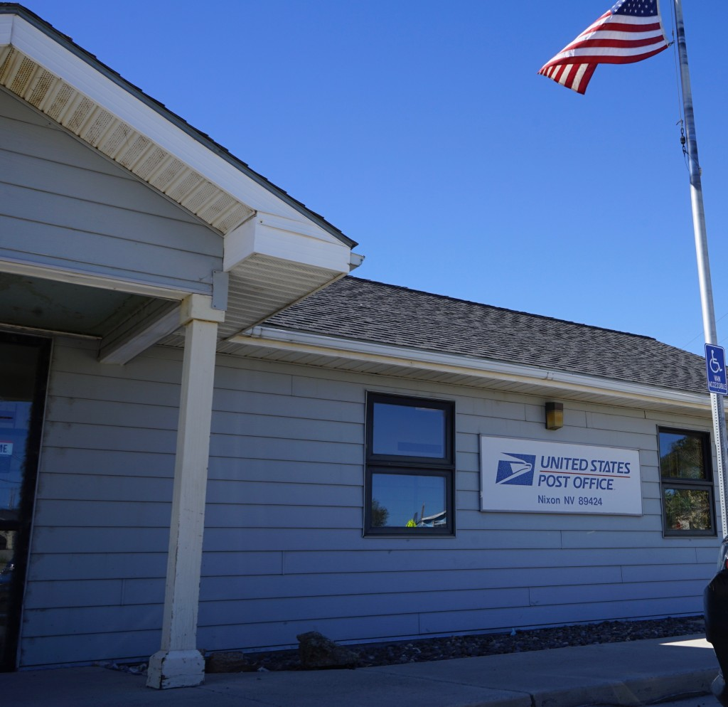 The U.S. Post Office in Nixon, Nev. is seen on Tuesday, Sept. 8, 2020. The majority of the more than 1,300 Pyramid Lake Paiute tribal members receive ...