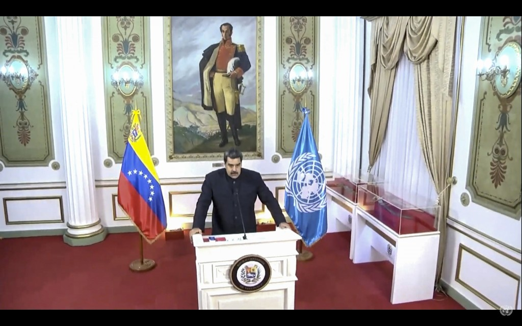 In this UNTV image, Nicolás Maduro Moros, President of Venezuela, speaks in a pre-recorded video message during the 75th session of the United Nations...