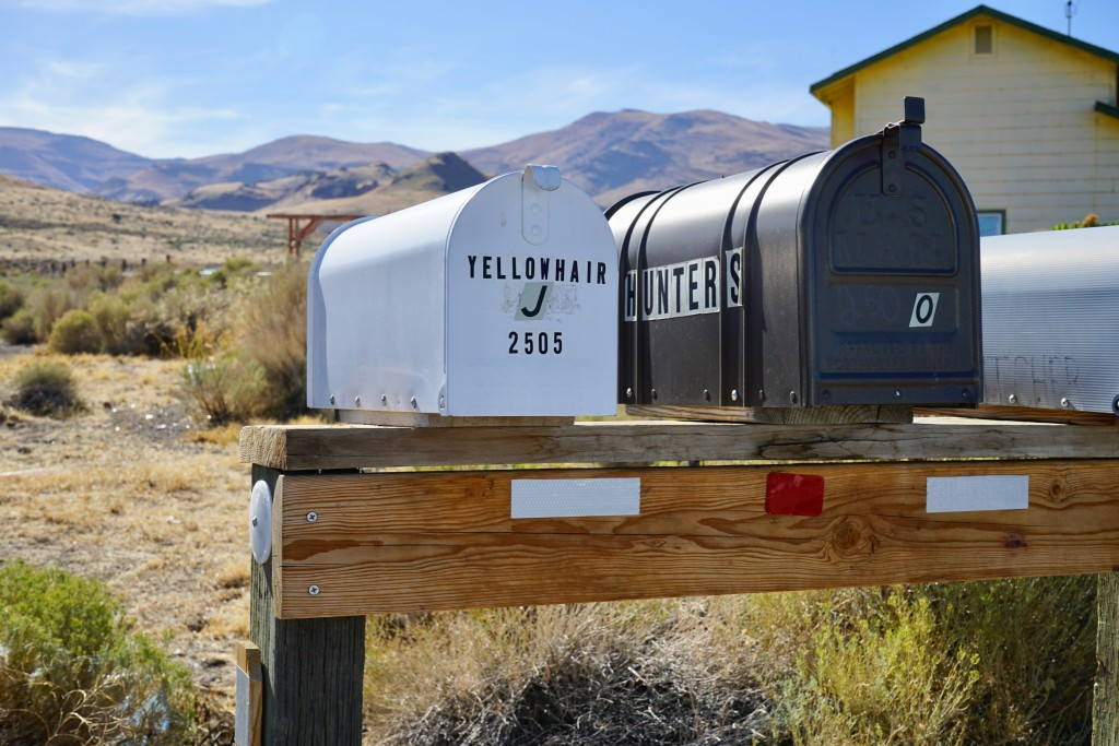 A small group of boxes, which the U.S. Postal Service delivers mail to, sits outside of Sutcliffe, Nev., on the Pyramid Lake Paiute Reservation on Tue...