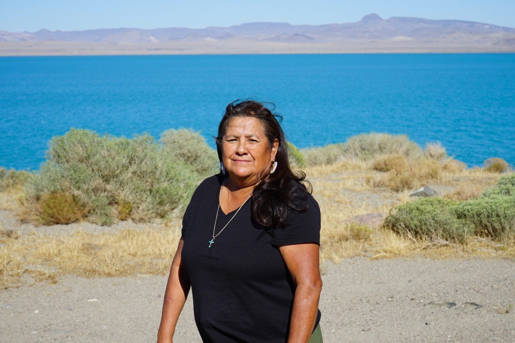 Janet Davis, an enrolled member of the Pyramid Lake Paiute Tribe, stands alongside Pyramid Lake between Nixon, Nev. and Sutcliffe, Nev. on Tuesday, Se...