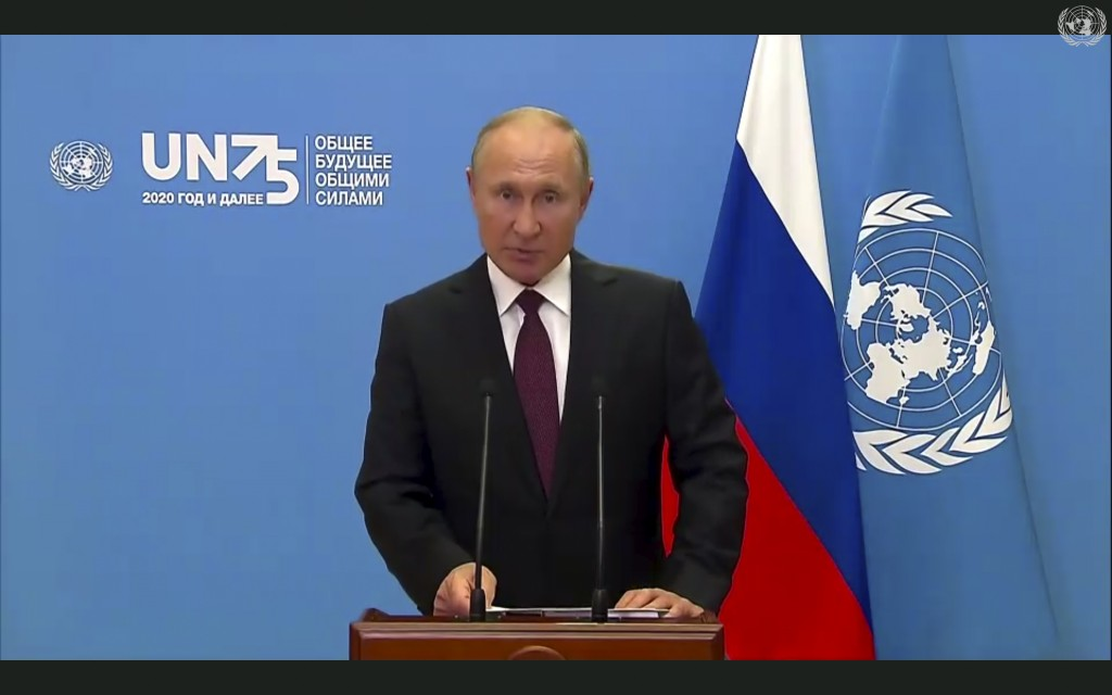 In this image made from UNTV video, Russian President Vladimir Putin speaks in a pre-recorded message which was played during the 75th session of the ...