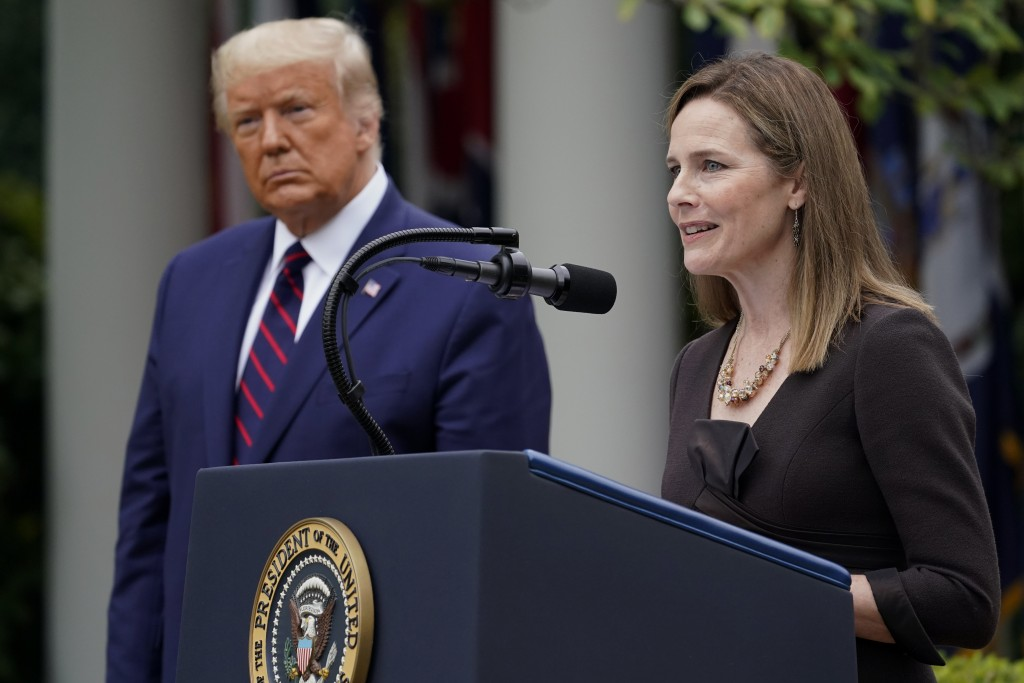 Judge Amy Coney Barrett speaks after President Donald Trump announced Barrett as his nominee to the Supreme Court, in the Rose Garden at the White Hou...