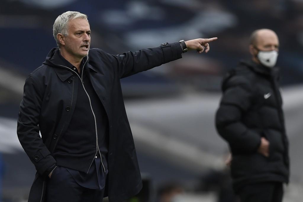 Tottenham coach Jose Mourinho gestures during the English Premier League soccer match between Tottenham and Newcastle at the Tottenham Hotspur Stadium...