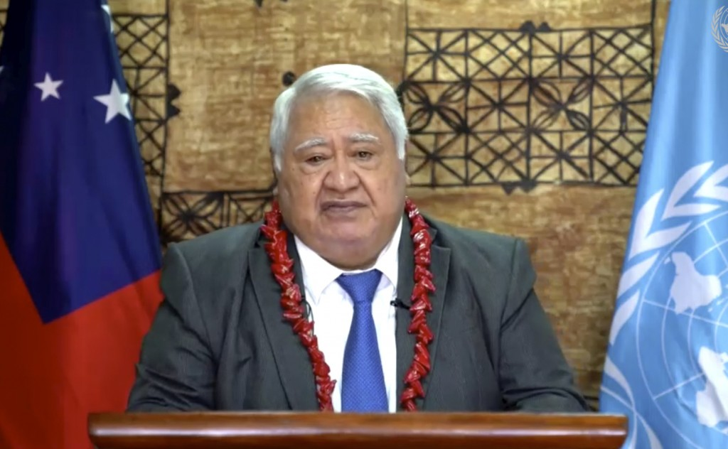 In this image made from UNTV video, Tuilaepa Sailele Malielegaoi, Prime Minister, of Samoa, speaks in a pre-recorded message which was played during t...