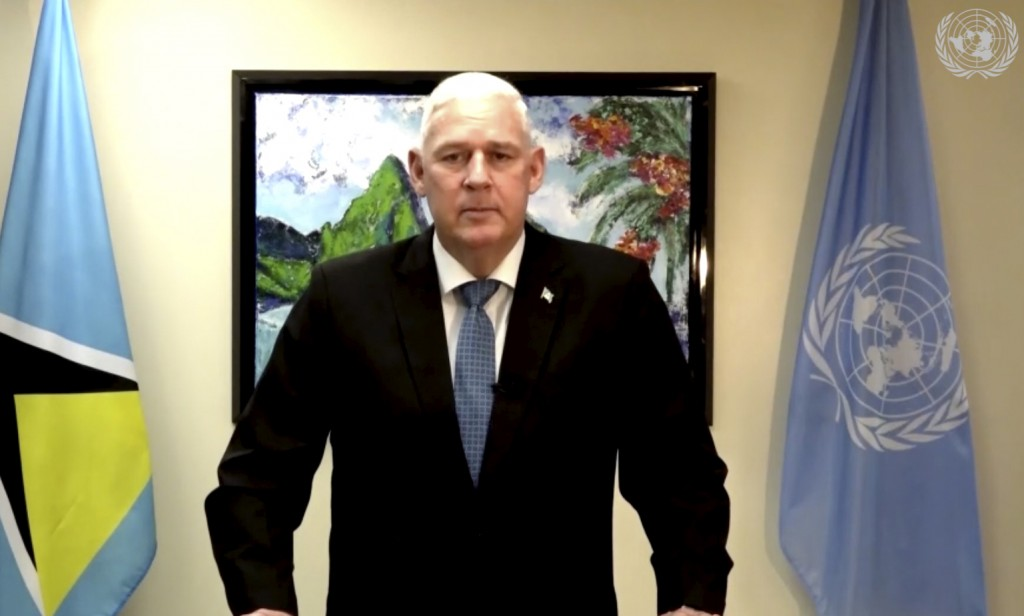 In this image made from UNTV video, Allen Michael Chastanet, Prime Minister of Saint Lucia, speaks in a pre-recorded message which was played during t...