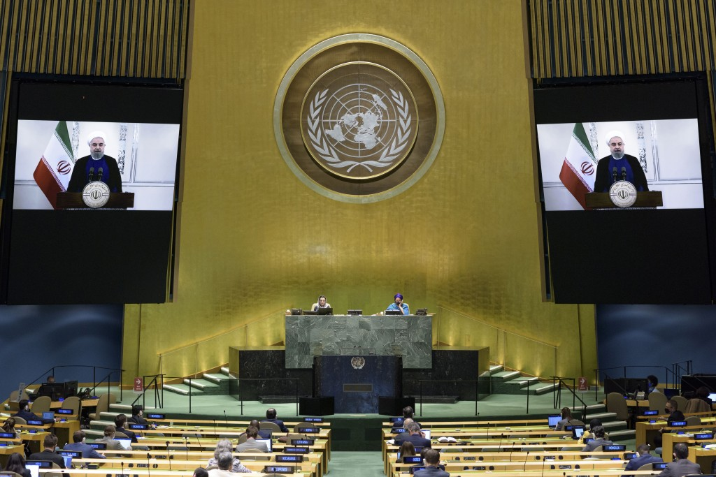 In this photo provided by the United Nations, President, Islamic Republic of Iran Hassan Rouhani's pre-recorded message is played during the 75th sess...