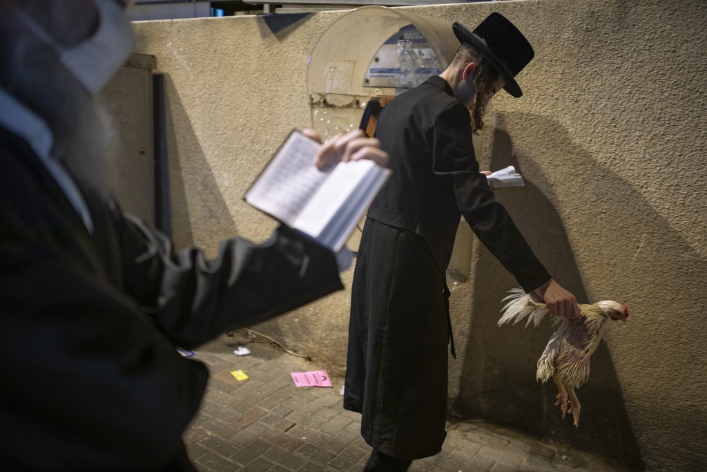 An ultra-Orthodox Jewish man holds a chicken as part of the Kaparot ritual, in Bnei Brak, Israel, Sunday, Sept. 27, 2020. Observant Jews believe the r...