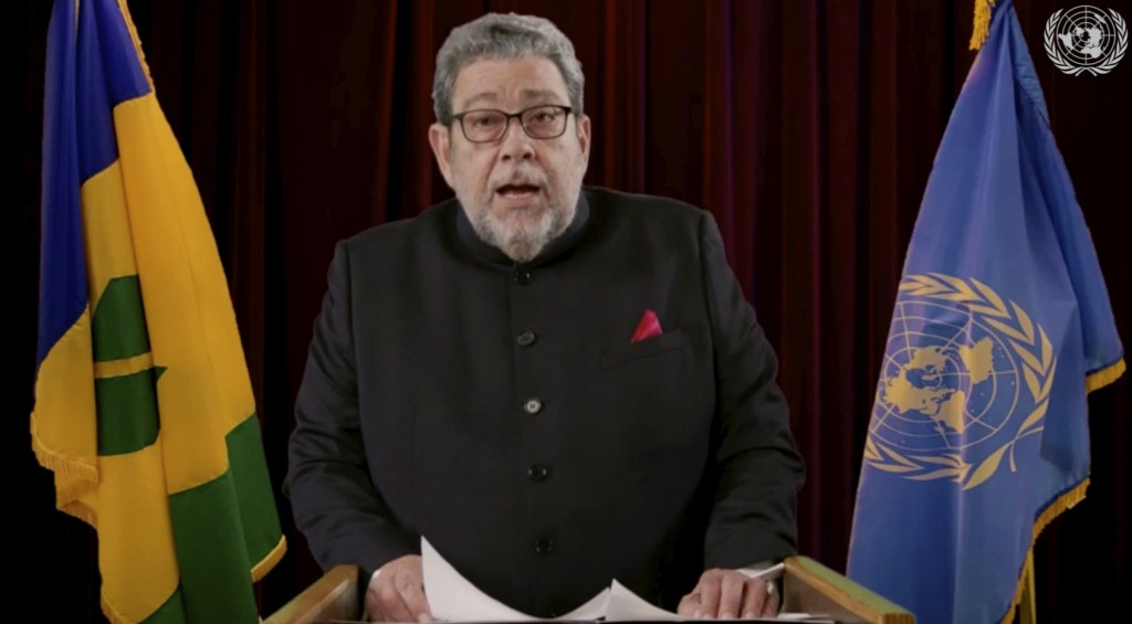 In this image made from UNTV video, Ralph Gonsalves, Prime Minister, Saint Vincent and the Grenadines, speaks in a pre-recorded message which was play...