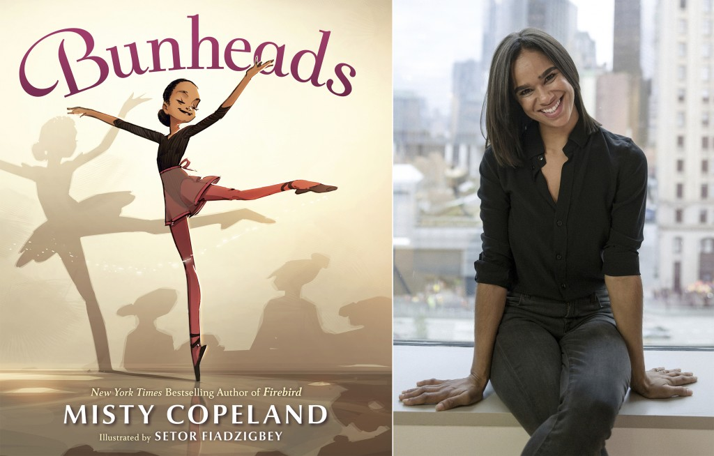 """This combination photo shows """"Bunheads"""" a children's book by Misty Copeland, left, and Copeland during a portrait session in New York on Nov. 19, 2019..."""