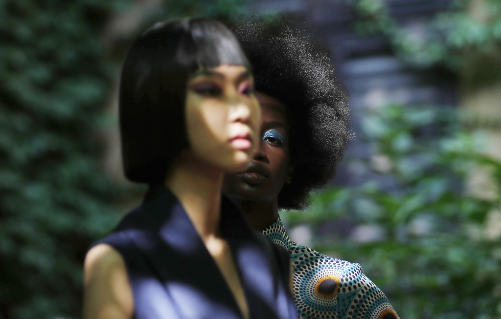 """Models wear creations part of the Joy 2021 women's spring-summer collection at the """"We are Made in Italy - Black Lives Matter in Italian fashion Colle..."""