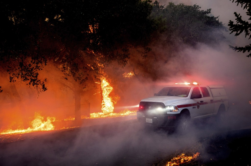 Flames from the Glass Fire lick up a tree in St. Helena, Calif., Sunday, Sept. 27, 2020. (AP Photo/Noah Berger)