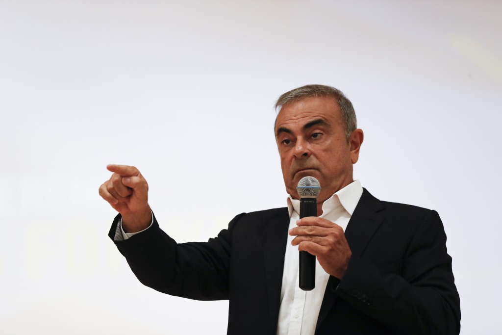 Nissan's former executive Carlos Ghosn speaks during a press conference at the Holy Spirit University of Kaslik (USEK), north of Beirut, Lebanon, Tues...