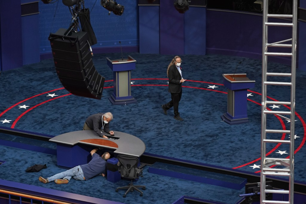 Preparations take place for the first Presidential debate in the Sheila and Eric Samson Pavilion, Monday, Sept. 28, 2020, in Cleveland. The first deba...