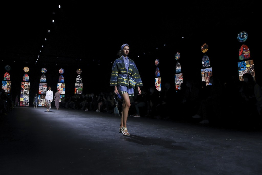A model wears a creation for Dior's Spring-Summer 2021 fashion collection, Tuesday, Sept. 29, 2020, during Paris fashion week. (Photo by Vianney Le Ca...