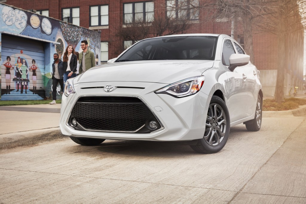 This photo provided by Toyota shows the 2020 Toyota Yaris, a small, fun-to-drive sedan or hatchback with Mazda underpinnings. It will be discontinued ...