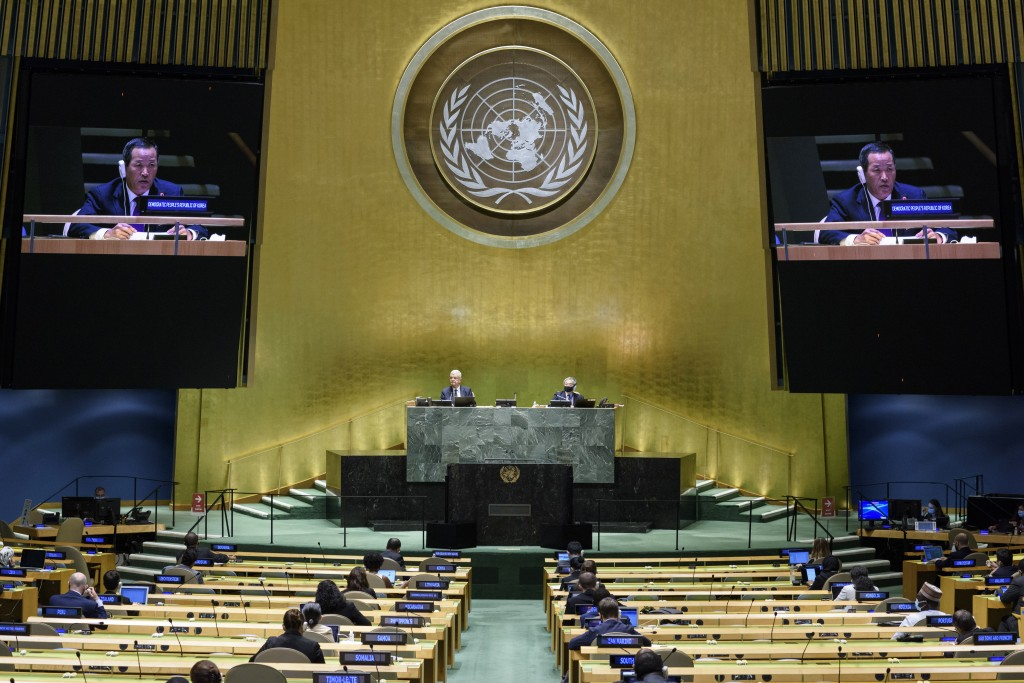 In this UN Photo, Kim Song, permanent representative of the Democratic People's Republic of Korea (DPRK) to the United Nations, is shown on video moni...