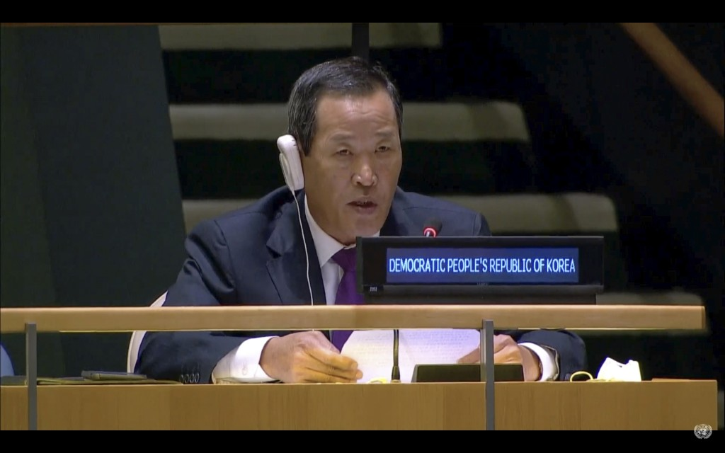 In this UNTV image, Kim Song, Permanent Representative of the Democratic People's Republic of Korea (DPRK) to the United Nations, speaks in person dur...