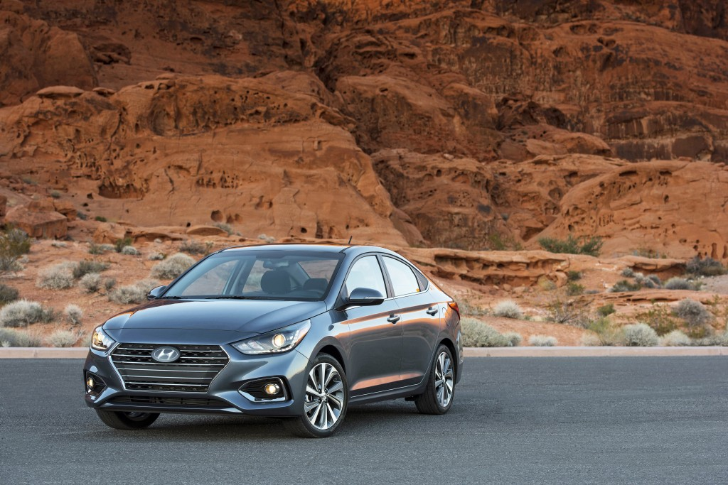 This photo provided by Hyundai shows the 2020 Hyundai Accent, a small hatchback that offers great fuel economy and a comfortable ride but can be spart...