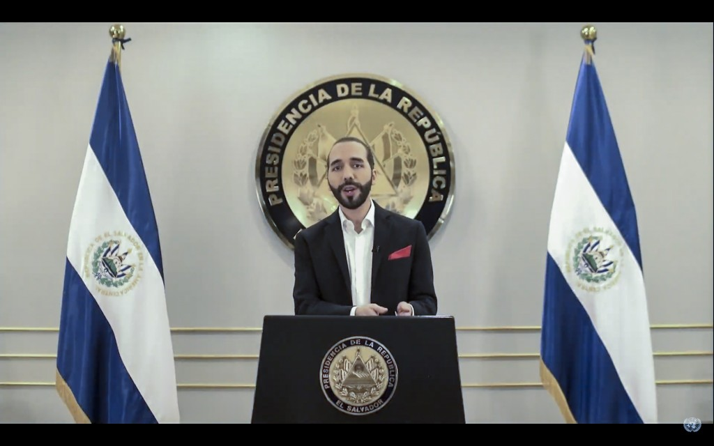 In this image take from UNTV video, Nayib Armando Bukele, President of El Salvador, speaks in a pre-recorded video message during the 75th session of ...