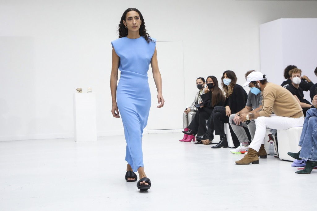A model wears a creation for the Gauchere Spring-Summer 2021 fashion collection, Wednesday, Sept. 30, 2020, during Paris fashion week. (Photo by Viann...