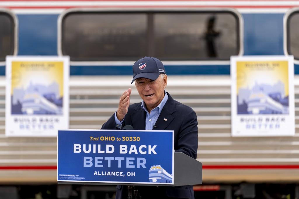 Democratic presidential candidate former Vice President Joe Biden speaks at Amtrak's Alliance Train Station, Wednesday, Sept. 30, 2020, in Alliance, O...