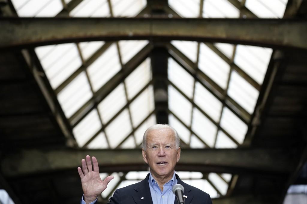 Democratic presidential candidate former Vice President Joe Biden speaks at Amtrak's Pittsburgh Train Station, Wednesday, Sept. 30, 2020, in Pittsburg...