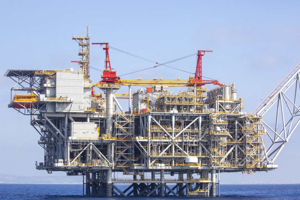 Israel's offshore Leviathan gas field in the Mediterranean Sea, Tuesday, Sept. 29, 2020. Lebanon and Israel have reached an agreement on a framework o...