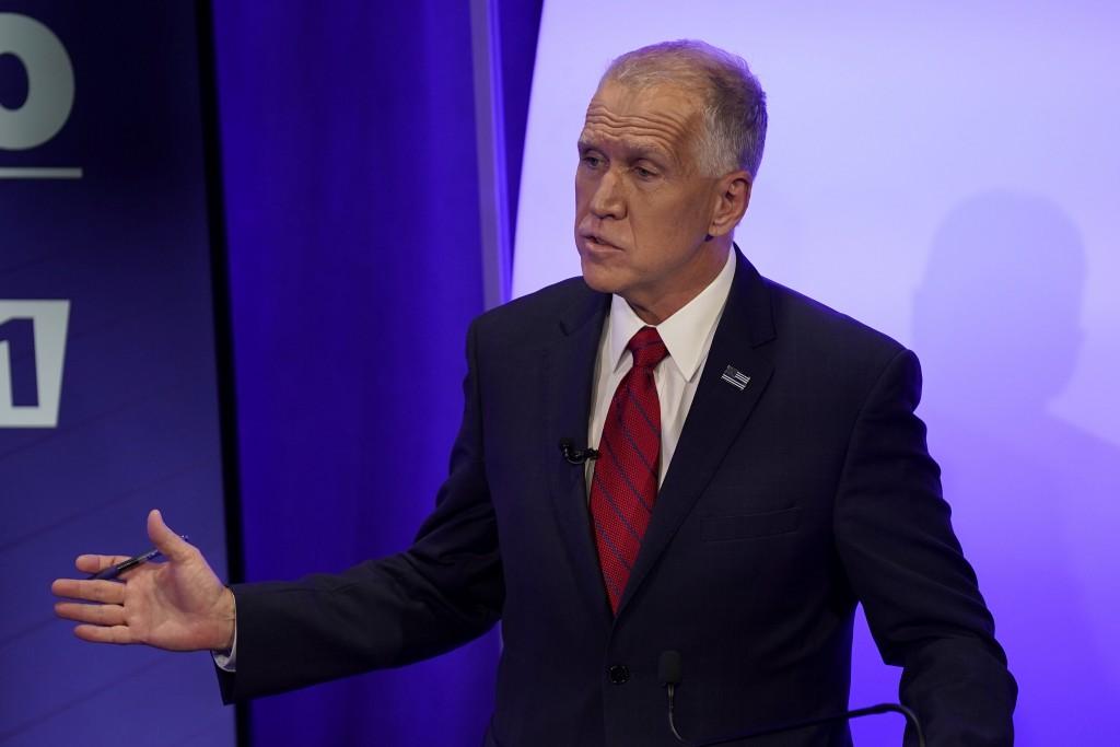 U.S. Sen. Thom Tillis, R-N.C. talks during a televised debate with Democratic challenger Cal Cunningham Thursday, Oct. 1, 2020 in Raleigh, N.C. (AP Ph...