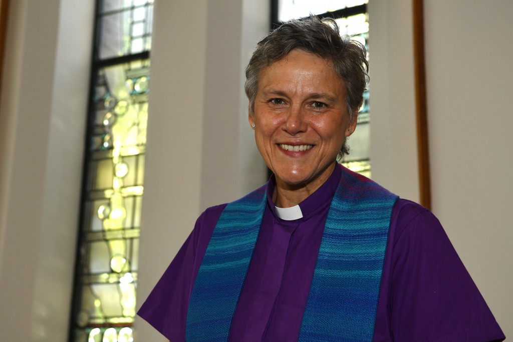 Reverend Lori Kyle, the minister of the First Unitarian Church in Louisville, Ky., is photographed Thursday, Oct. 1, 2020.  The church has for months ...
