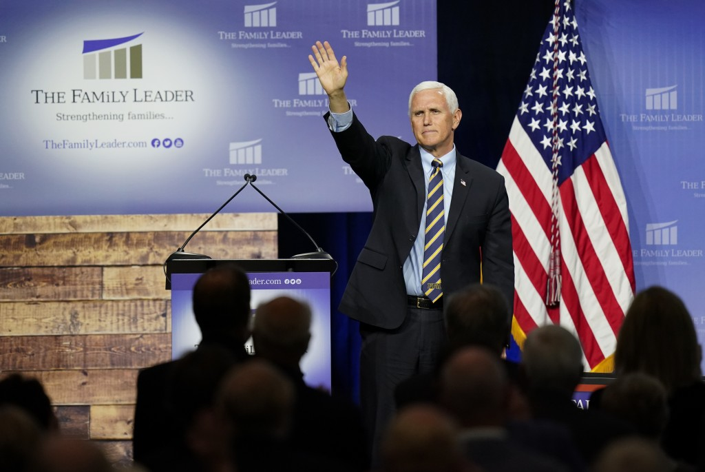Vice President Mike Pence waves as he leaves the stage after speaking at an event hosted by The Family Leader Foundation Thursday, Oct. 1, 2020, in De...