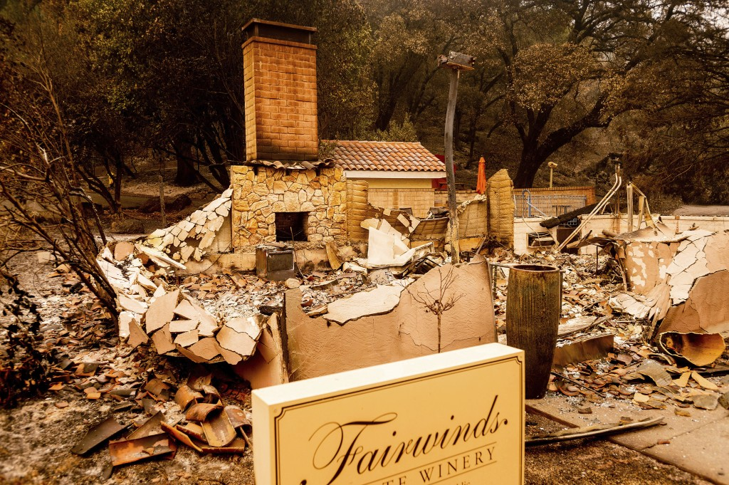 A chimney stands at a Fairwinds Estate Winery building, which burned in the Glass Fire, on Thursday, Oct. 1, 2020, in Calistoga, Calif. (AP Photo/Noah...