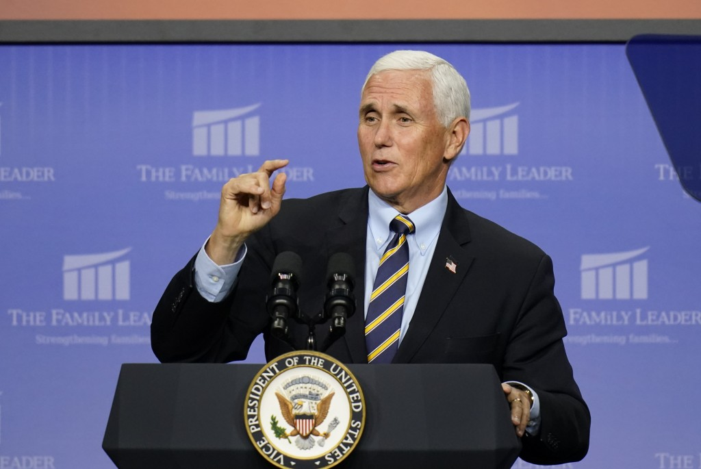 Vice President Mike Pence speaks at an event hosted by The Family Leader Foundation Thursday, Oct. 1, 2020, in Des Moines, Iowa. (AP Photo/Charlie Nei...