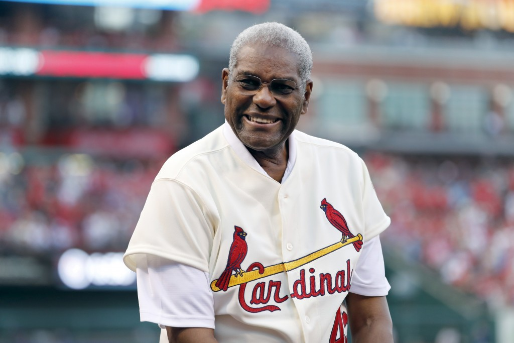 FILE - In this May 17, 2017, file photo, Bob Gibson, a member of the St. Louis Cardinals' 1967 World Series championship team, takes part in a ceremon...